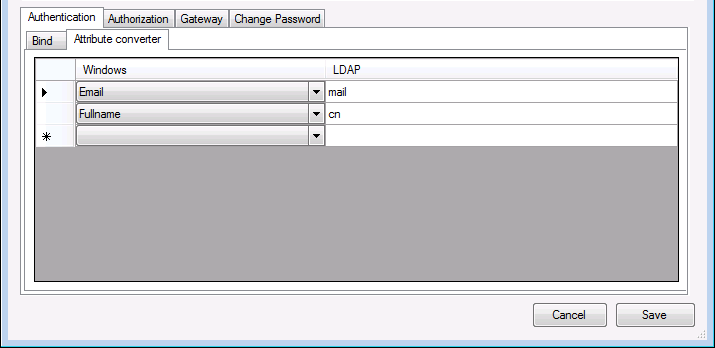 LDAP attribute configuration
